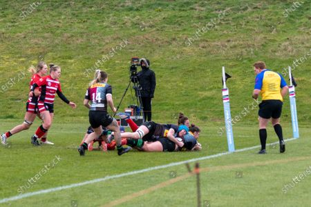 Stock Picture of Amy Cokayne (#2 Harlequins Women) scores Harlequins second try