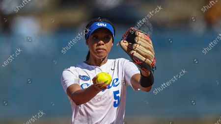 Tennessee State's Raven Loveless throws to a batter during an NCAA college softball game against Tennessee Tech, in Nashville, Tenn