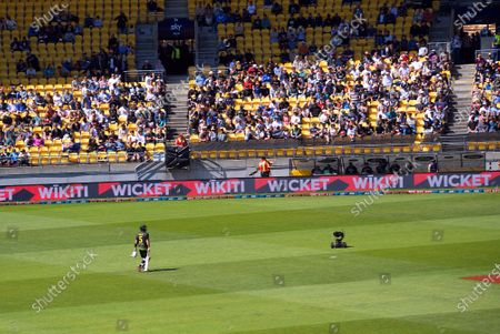 Stock Picture of Australia's Aaron Finch walks off after his dismissal during the 5th international men's T20 cricket match between the New Zealand Black Caps and Australia at Sky Stadium.