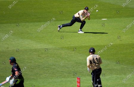 NZ's Mitch Santner catches Aaron Finch during the 5th international men's T20 cricket match between the New Zealand Black Caps and Australia at Sky Stadium.