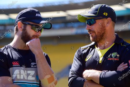 NZ captain Kane Williamson chats with Australia skipper Aaron Finch after the 5th international men's T20 cricket match between the New Zealand Black Caps and Australia at Sky Stadium.