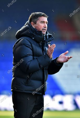 Stock Image of Stock action picture of Oldham Athletic's Harry Kewell (Head Coach) during the Sky Bet League 2 match between Oldham Athletic and Southend United at Boundary Park, Oldham on Saturday 6th March 2021.