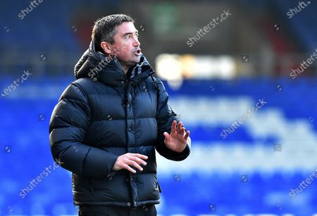 Oldham Athletic's Harry Kewell (Head Coach) during the Sky Bet League 2 match between Oldham Athletic and Southend United at Boundary Park, Oldham on Saturday 6th March 2021.