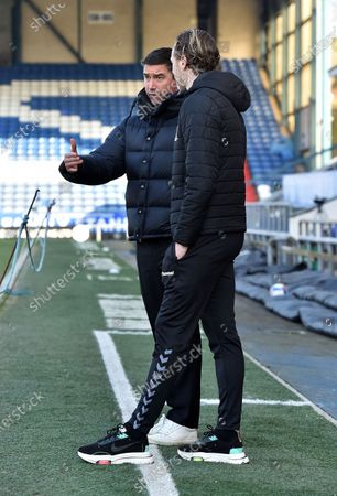 Oldham Athletic's Harry Kewell (Head Coach) and Mark Molesley (Manager) of Southend United before the Sky Bet League 2 match between Oldham Athletic and Southend United at Boundary Park, Oldham on Saturday 6th March 2021.