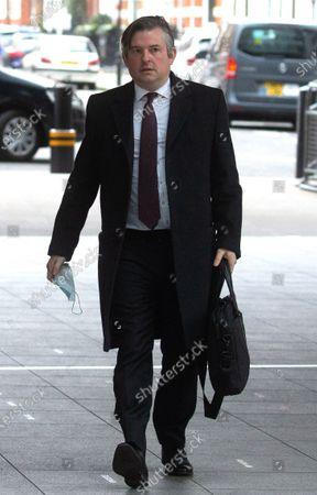 Shadow Health Secretary, Jonathan Ashworth, arrives for 'The Andrew Marr Show'.