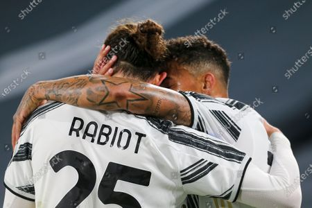 Adrien Rabiot of Juventus FC celebrates after scoring a goal with Danilo Luiz da Silva during the Serie A football match between Juventus FC and SS Lazio at Allianz Stadium on March 06, 2021 in Turin, Italy.