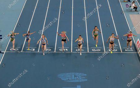 Ireland's Molly Scott (lane 8) crosses the line in the Women's 60m heats