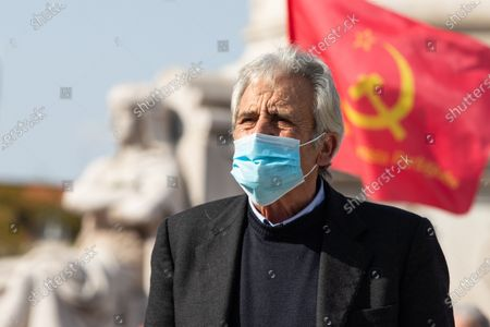 The General Secretary of the PCP, Jeronimo de Sousa on the Portuguese Communist Party Celebrates its Centenary on the streets in Lisbon, on March 6, 2021