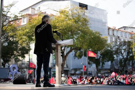 General Secretary of the PCP, Jeronimo de Sousa speech in the Portuguese Communist Party Celebrates its Centenary on the streets in Lisbon, on March 6, 2021