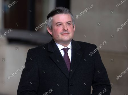 Shadow Health Secretary, Jonathan Ashworth, leaves the BBC studios after appearing on 'The Andrew Marr Show'.