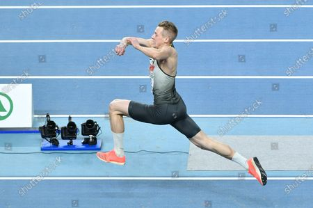 Max Hess of Germany in action during the men's Tiple Jump competition at the 36th European Athletics Indoor Championships in Torun, north-central Poland, 07 March 2021.