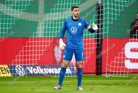 Wolfsburg's goalkeeper Koen Casteels during the German soccer cup, DFB Pokal, quarter final match between RB Leipzig and VfL Wolfsburg in Leipzig, Germany