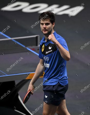 Dimitrij Ovtcharov of Germany celebrates after winning the men's singles final against Lin Yun-Ju of Chinese Taipei at WTT Contender Doha in Doha, Qatar on March 6, 2021. Dimitrij Ovtcharov defeated Lin Yun-Ju to claim the title.