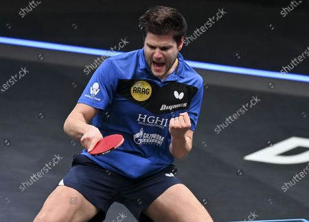 Dimitrij Ovtcharov of Germany celebrates during the men's singles final against Lin Yun-Ju of Chinese Taipei at WTT Contender Doha in Doha, Qatar on March 6, 2021. Dimitrij Ovtcharov defeated Lin Yun-Ju to claim the title.