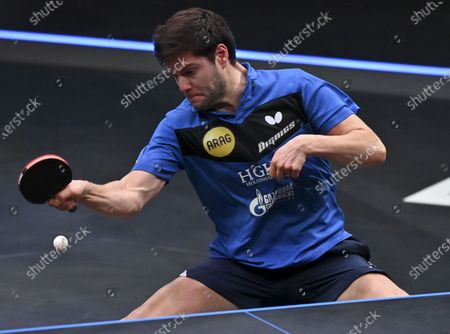Dimitrij Ovtcharov of Germany returns the ball during the men's singles final against Lin Yun-Ju of Chinese Taipei at WTT Contender Doha in Doha, Qatar on March 6, 2021. Dimitrij Ovtcharov defeated Lin Yun-Ju to claim the title.
