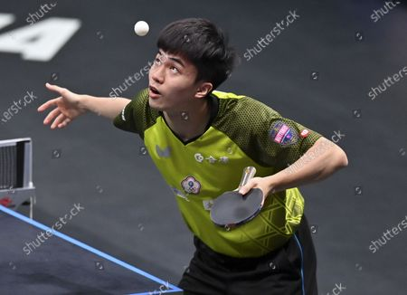 Stock Photo of Lin Yun-Ju of Chinese Taipei competes during the men's singles final against Dimitrij Ovtcharov of Germany at WTT Contender Doha in Doha, Qatar on March 6, 2021. Dimitrij Ovtcharov defeated Lin Yun-Ju to claim the title.