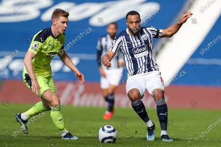 Stock Image of West Bromwich Albion  midfielder Matt Phillips (10) passes the ball during the Premier League match between West Bromwich Albion and Newcastle United at The Hawthorns, West Bromwich