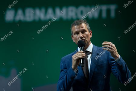 Stock Picture of Tournament director Richard Krajicek addresses Croatia's Nikola Mektic and Mate Pavic after they won the final men's doubles match of the ABN AMRO world tennis tournament against Germany's Kevin Krawietz and Romania's Horia Tecau at Ahoy Arena in Rotterdam, Netherlands