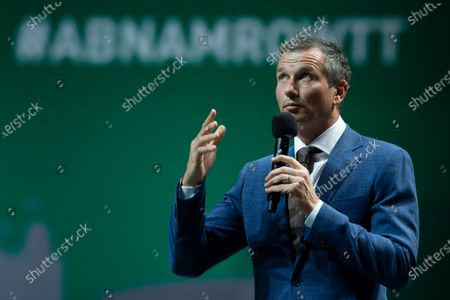 Tournament director Richard Krajicek addresses Croatia's Nikola Mektic and Mate Pavic after they won the final men's doubles match of the ABN AMRO world tennis tournament against Germany's Kevin Krawietz and Romania's Horia Tecau at Ahoy Arena in Rotterdam, Netherlands