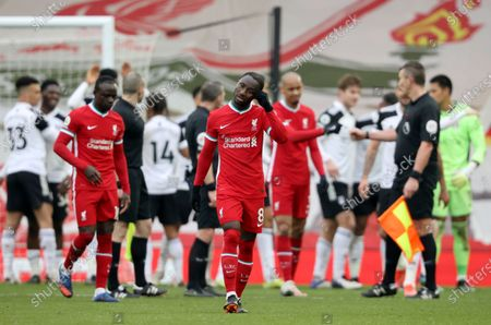 Naby Keita (C) of Liverpool reacts after the English Premier League soccer match between Liverpool FC and Fulham FC in Liverpool, Britain, 07 March 2021.