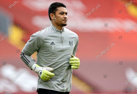Goalkepeer Alphonse Areola of Fulham warms up prior to the English Premier League soccer match between Liverpool FC and Fulham FC in Liverpool, Britain, 07 March 2021.