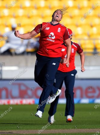England's Katherine Brunt celebrates dismissing Hayley Jensen during the 3rd international women's T20 cricket match between the New Zealand White Ferns and England at Sky Stadium in Wellington, New Zealand