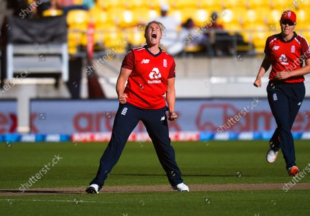 Stock Picture of England's Katherine Brunt celebrates dismissing Hayley Jensen during the 3rd international women's T20 cricket match between the New Zealand White Ferns and England at Sky Stadium in Wellington, New Zealand