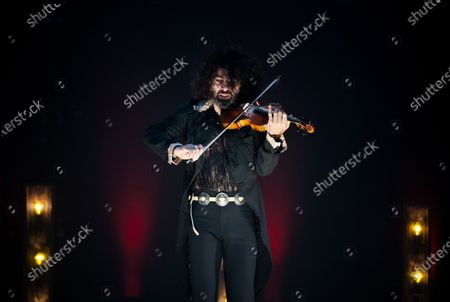 Ara Malikian plays his violin during the performance. Armenian-Spanish violinist, Ara Malikian performs at Cervantes theatre in his new musical show 'Le petite garage', adapted from restrictions and safety measures caused by coronavirus pandemic.