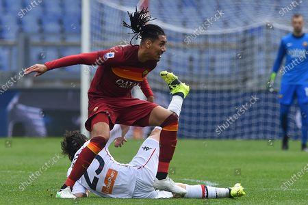 Chris Smalling of Roma, Mattia Destro of Genoa