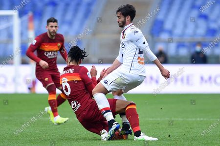 Chris Smalling of Roma, Francesco Cassata of Genoa