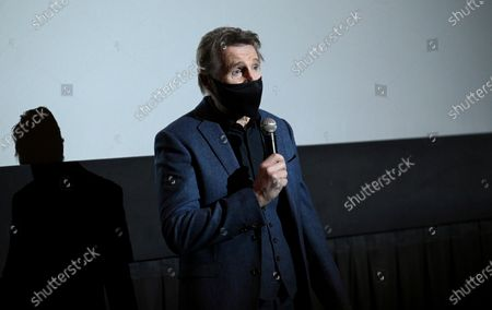 """Actor Liam Neeson introduces his new film """"The Marksman"""" at the AMC Lincoln Square on the first that theaters reopened after COVID-19 closures,, in New York"""