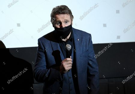 """Stock Image of Actor Liam Neeson introduces his new film """"The Marksman"""" at the AMC Lincoln Square on the first that theaters reopened after COVID-19 closures,, in New York"""