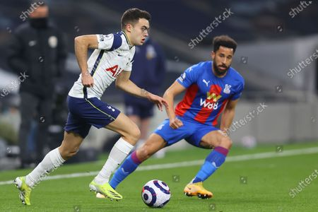 Stock Picture of Tottenham's Sergio Reguilon, left, is challenged by Crystal Palace's Andros Townsend during the English Premier League soccer match between Tottenham Hotspur and Crystal Palace at the Tottenham Hotspur Stadium in London