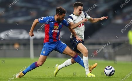 Stock Photo of Sergio Reguilon (R) of Tottenham in action against Andros Townsend (L) of Palace during the English Premier League soccer match between Tottenham Hotspur and Crystal Palace in London, Britain, 07 March 2021.