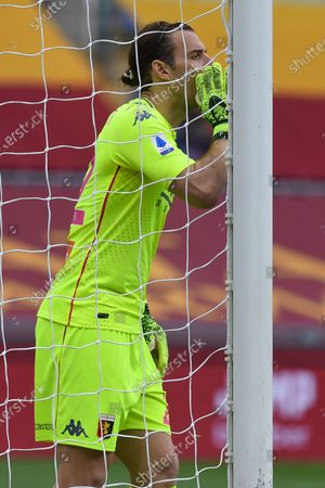 Stock Picture of Federico Marchetti of Genoa in action during the serie A soccer match AS Roma vs Genoa in the Olympic stadium