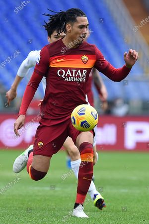 Chris Smalling of Roma in action during the serie A soccer match AS Roma vs Genoa in the Olympic stadium