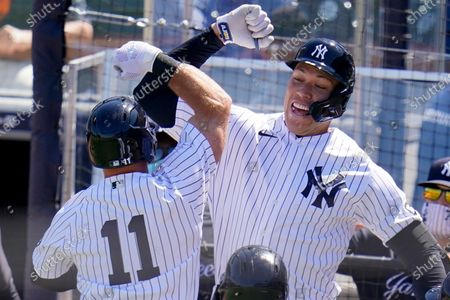 Stock Image of New York Yankees' Brett Gardner (11) celebrates his grand slam home run off Philadelphia Phillies starting pitcher Zack Wheeler, with Aaron Judge during the second inning of a spring training exhibition baseball game at George M. Steinbrenner Field in Tampa, Fla