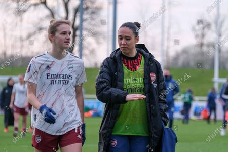 Vivianne Miedema (#11 Arsenal) and Manuela Zinsberger (#1 Arsenal) after their victory of the Barclay FA Womens Super League game between Birmingham City and Arsenal at St. George's Park National Football Centre