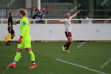 Lisa Evans (#17 Arsenal) celebrates  during the FA Womens Super League 1 game between Birmingham City and Arsenal at St. George's Park National Football Centre in Burton upon Trent.