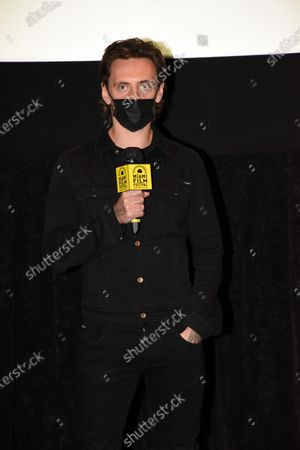 Stock Image of Florida, USA - 7, March, 2021. Sergei Polunin, Russian Ballet dancer and actor of 'Simple Passion' takes questions from the audience at the screening of his movie at Miami Dade College's 38th annual Miami Film Festival in Miami, FL