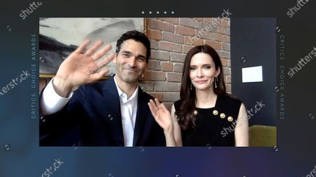 A handout screen shot made available by Getty Images shows US actor Tyler Hoechlin (L) and actress Elizabeth Tulloch (R) speaking during the 26th Annual Critics Choice Awards from an unspecified location, 07 March 2021.
