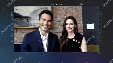 Stock Picture of A handout screen shot made available by Getty Images shows US actor Tyler Hoechlin (L) and actress Elizabeth Tulloch (R) speaking during the 26th Annual Critics Choice Awards from an unspecified location, 07 March 2021.