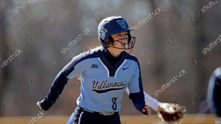 Villanova's Chloe Smith runs the bases against Hofstra during an NCAA softball game, in Newark, N.J