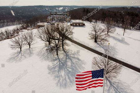 Stock Photo of The Seven Springs, a property owned by former U.S. President Donald Trump, is covered in snow, in Mount Kisco, N.Y. The estate, a 213-acre swath of nature surrounding a Georgian-style mansion, is a subject of two state investigations in New York: a criminal probe by Manhattan District Attorney Cyrus Vance Jr. and a civil inquiry by state Attorney General Letitia James. Both investigations focus on whether Trump manipulated the property's value to reap greater tax benefits from an environmental conservation arrangement he made while running for president in 2016
