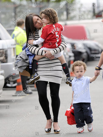 Rio Ferdinand's wife Rebecca Ellison and son Lorenz.