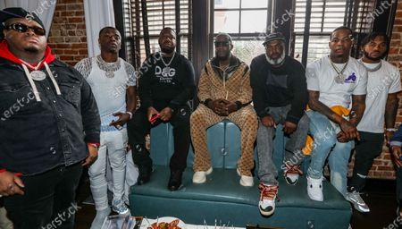 (L-R) Duke Duce, Bank Roll Freddie, Pee, Gucci Mane, Coach K, Kolision and D'Andre Swift