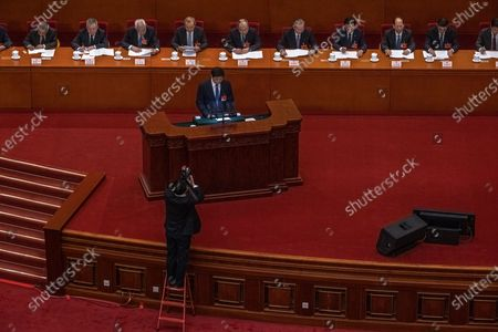 Li Zhanshu, National People's Congress Chairman, delivers a speech during the second plenary session of the National People's Congress (NPC) at the Great Hall of the People, in Beijing, China, 08 March 2021.  China holds two major annual political meetings, The National People's Congress (NPC) and the Chinese People's Political Consultative Conference (CPPCC) which run alongside and together known as 'Lianghui' or 'Two Sessions'.