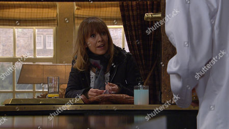 Emmerdale - Ep 8991 Thursday 11th March 2021 - 1st Ep Rhona Goskirk, as played by Zoe Henry, covertly organises a date with Marlon Dingle, as played by Mark Charnock.