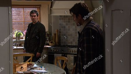 Emmerdale - Ep 8995 Tuesday 16th March 2021 Moira Dingle enters to find a tense standoff between Mack, as played by Lawrence Robb, and Cain Dingle, as played by Jeff Hordley, and is distraught when Cain reveals the truth..