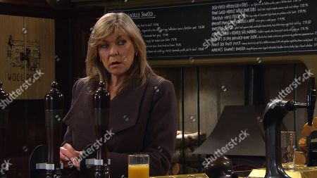 Stock Picture of Emmerdale - Ep 8991 Thursday 11th March 2021 - 1st Ep At the pub, aware Dawn has a meeting with the social worker, Kim Tate, as played by Claire King, creates a distraction, allowing her to spike Dawn's drink. Could this could blow her chances of getting Lucas back?